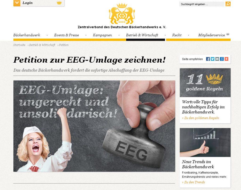 Dezember 2013: Bäcker starten Petition zur Abschaffung der EEG-Umlage