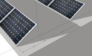 Wenn die einzelnen Modulreihen im 30° Winkel aufgeständert werden, wird effektiv nur etwa ein Drittel der Dachfläche mit Solarmodulen belegt
