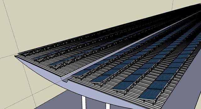Modell der Solarstromanlage, die in Kürze auf dem Dach des Rüsselsheimer Bahnhofes realisiert wird