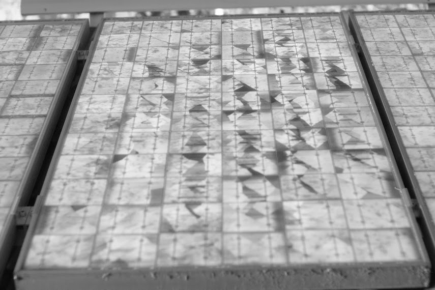 Elektrolumineszenz Aufnahme eines Solarmoduls vom Typ BP 3155 mit Mikrocracks