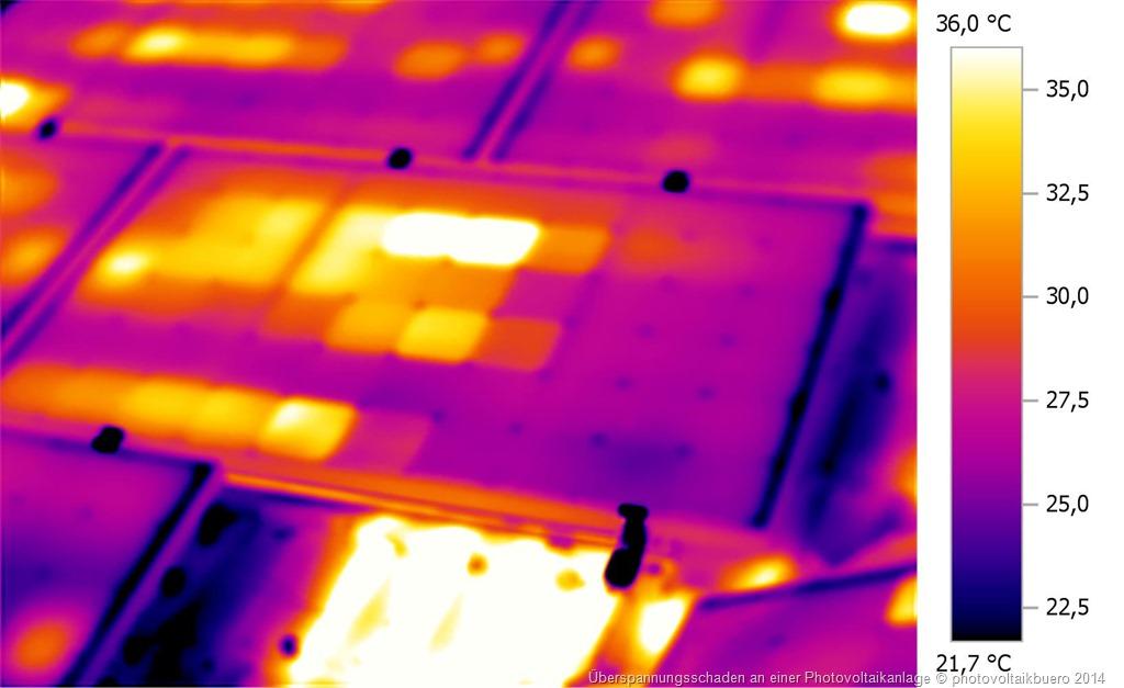typischer Ueberspannungsschaden an einer Solarstromanlage