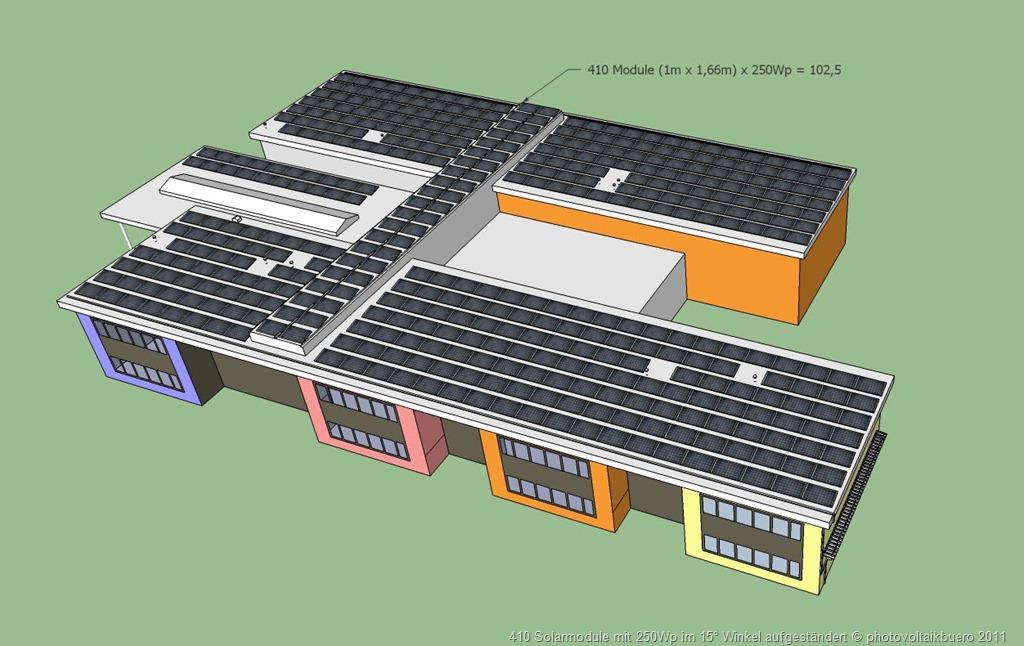 klassische Solar Modulanordnung auf einem Flachdach