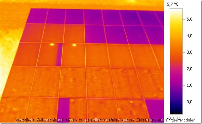 Defekte Solarmodule erkennen mit Rückstromthermographie: Korrodierte Zellanschlüsse führen zu partiellen Ausfällen ganzer Zellstreifen auf einigen Modulen