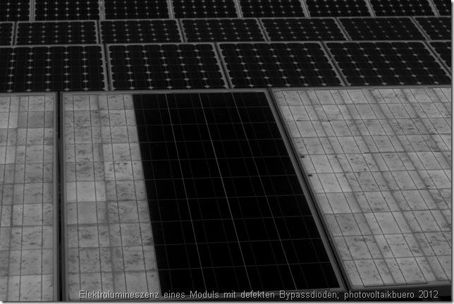 Elektrolumineszenz: Modul mit defekten Bypassdioden