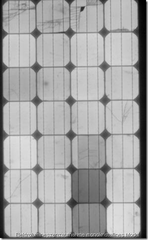 Defekte Solarmodule erkennen: Elektrolumineszenz Aufnahme eines Helios Solarmodules