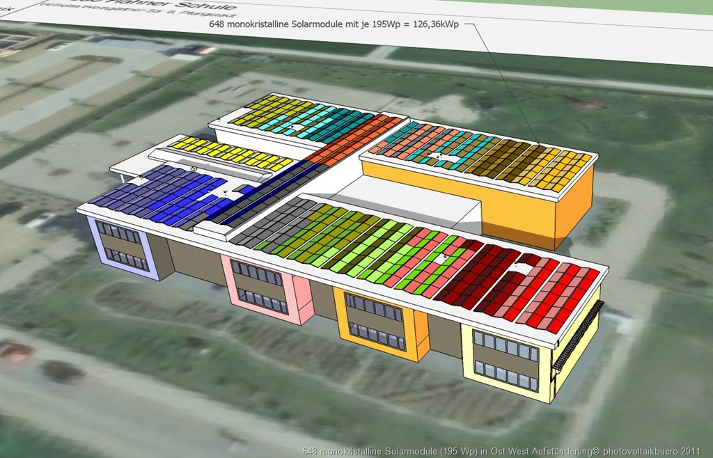 Ost West Anordnung der Solarmodule auf einem Flachdach