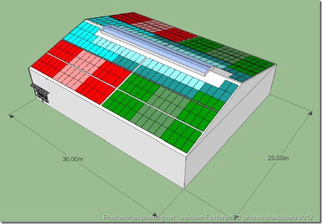 Photovoltaikplanung für eine Gewerbehalle: Alle Modulstränge sind gleich lang; Alle Wechselrichter sind exakt gleich ausgelegt; Jeder Anfang und jedes Ende eines Modulstranges ist über den Wartungsgang erreichbar; Man erkennt anhand der Lage der Wartungsgänge bereits die Strangaufteilung