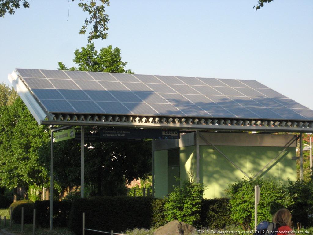 Starke teilverschattung an einem Solargenerator wie in Fall 2 beschrieben