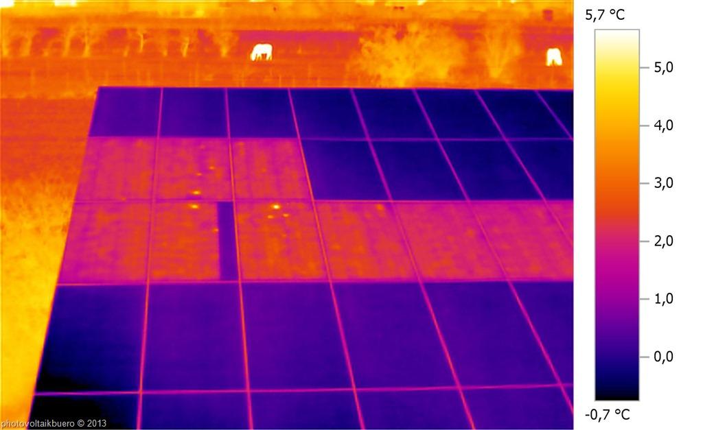 Bypassdiodencheck: Rueckstromthermographie eines Solarmoduls mit defekter Bypassdiode