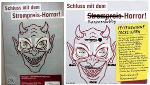 Plakatkampagne der Lobbyorganisation INSM original und Gegenaktion