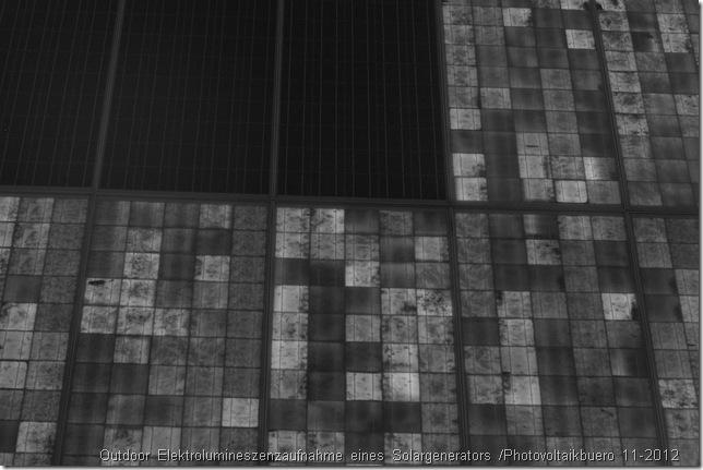 Defekte Solarmodule erkennen: Outdoor Elektrolumineszenzaufnahme eines Solargenerators