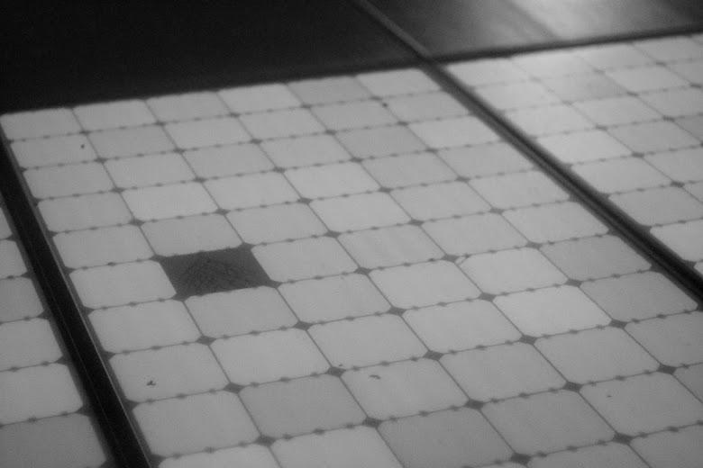 Outdoor Elektrolumineszenz Aufnahme eines Solarmoduls mit rückseitenkontaktierten Solarzellen von Sunpower, mit einer defekten Solarzelle