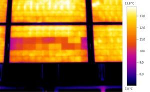 Thermographie Photovoltaik: Typisches Schachbrettmuster auf dem Thermogramm eines Solarmoduls mit einer kurzgeschlossenen Bypassdiode