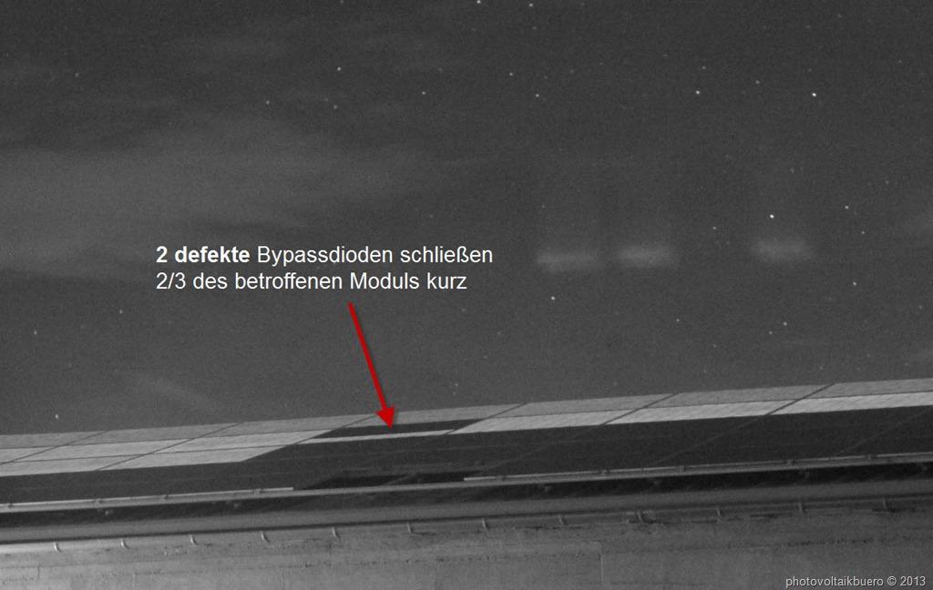 Bypassdiodencheck: Outdoor Elektrolumineszenzaufnahme eines Solarmoduls mit zwei defekten Bypassdioden