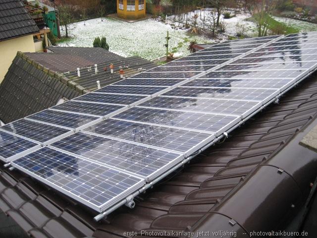 erste Photovoltaikanlage jetzt volljährig