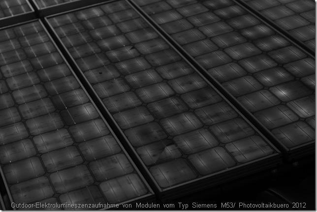 Defekte Solarmodule erkennen: Outdoor-Elektrolumineszenzaufnahme von 19 Jahre alten Modulen vom Typ Siemens M53