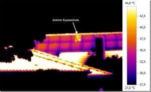 Thermographie Photovoltaik: Kurzschluss über die Bypassdiodenstrecke an einem Sunpowermodul