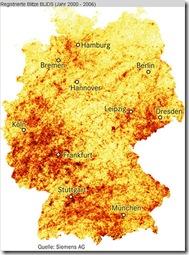 Registrierte Blitze in Deutschland zwischen 2000 und 2006