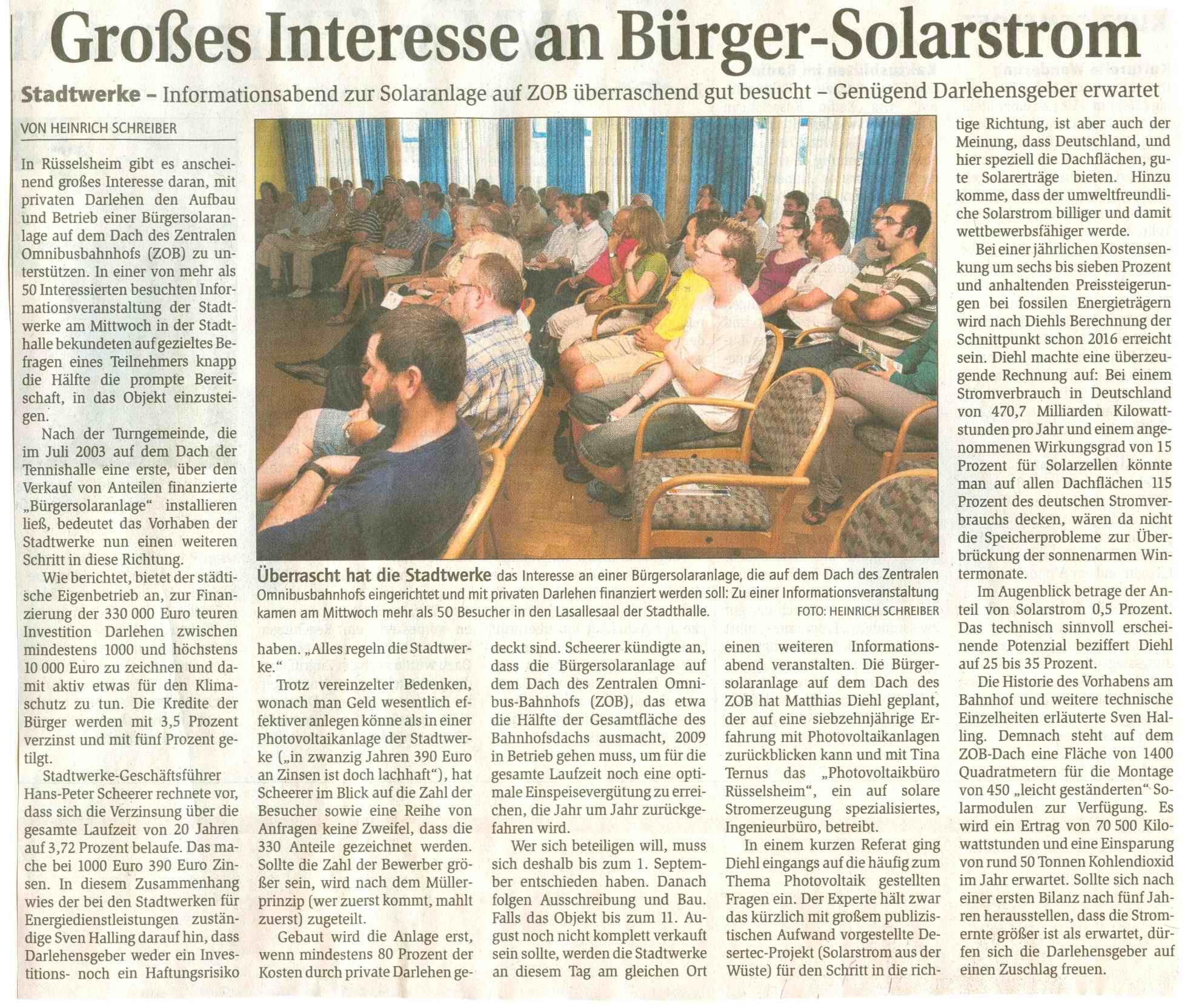 Rüsselsheimer Echo vom 24.7.2009 zur Veranstaltung
