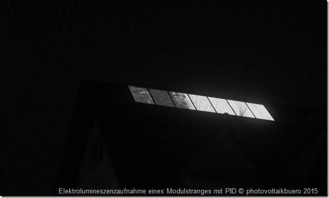 Elektrolumineszenzaufnahme Solarmodulstrang mit PID