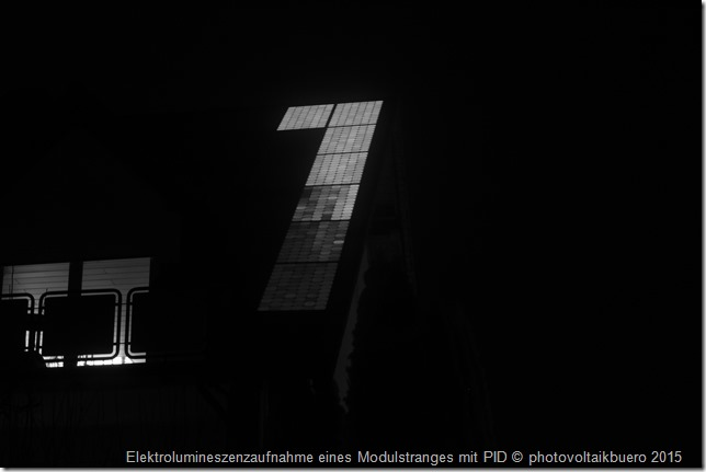 Elektrolumineszenzaufnahme Solarmodulstrang mit PID-