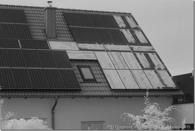 Elektrolumineszenzaufnahme einer Photovoltasikanlage