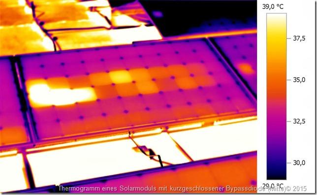 Pannello solare con diodo di bypass centrale difettoso