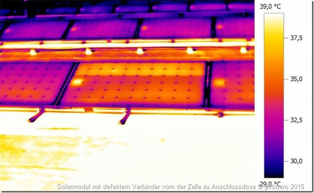 Fehler an PV-Anlagen: Solarmodul mit defektem Verbinder vom der Zelle zu Anschlussdose