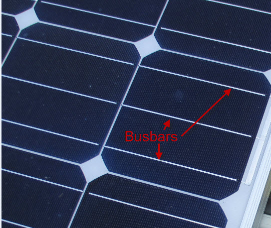 Close-up of a solar cell with its busbars (front contacts)