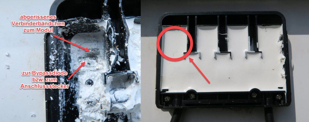 Abgerissenes Verbinderbändchen in einer vergossenen Anschlussdose